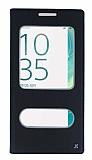 Sony Xperia XA Ultra Gizli Mıknatıslı Çift Çerçeveli Siyah Deri Kılıf
