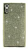 Eiroo Sony Xperia XZ Taşlı Gold Silikon Kılıf
