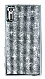 Eiroo Sony Xperia XZ Taşlı Silver Silikon Kılıf