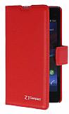 Eiroo Sony Xperia Z1 Compact Standlı Cüzdanlı Kırmızı Deri Kılıf