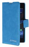 Eiroo Sony Xperia Z1 Compact Standlı Cüzdanlı Mavi Deri Kılıf