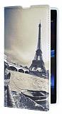 Eiroo Sony Xperia Z1 Eiffel Kulesi Gizli M�knat�sl� Standl� Deri K�l�f