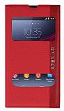 Eiroo Sony Xperia Z1 Gizli M�knat�sl� �ift Pencereli K�rm�z� Deri K�l�f