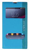 Eiroo Sony Xperia Z1 Gizli M�knat�sl� �ift Pencereli Mavi Deri K�l�f