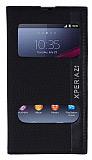 Eiroo Sony Xperia Z1 Gizli M�knat�sl� �ift Pencereli Siyah Deri K�l�f