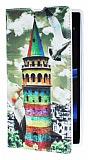 Eiroo Sony Xperia Z1 Renkli Galata Kulesi Gizli M�knat�sl� Standl� Deri K�l�f