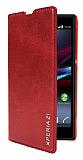 Eiroo Sony Xperia Z1 Standl� C�zdanl� K�rm�z� Deri K�l�f