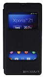 Eiroo Sony Xperia Z1 Vantuzlu Pencereli Siyah Deri K�l�f
