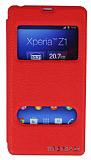 Eiroo Sony Xperia Z1 Vantuzlu Pencereli K�rm�z� Deri K�l�f