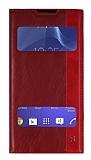 Sony Xperia Z2 Gizli Mıknatıslı Pencereli Kırmızı Deri Kılıf