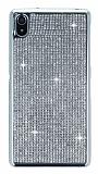 Eiroo Sony Xperia Z2 Taşlı Silver Silikon Kılıf
