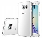 Eiroo Samsung Galaxy S6 Edge Plus Çift Katmanlı Silver Metal Kenarlı Şeffaf Kristal Kılıf