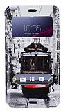 Eiroo Sony Xperia Z3 Compact Gizli M�knat�sl� �ift Pencereli Taksim Deri K�l�f
