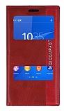Sony Xperia Z3 Compact Gizli Mıknatıslı Pencereli Kırmızı Deri Kılıf