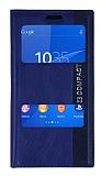 Sony Xperia Z3 Compact Gizli Mıknatıslı Pencereli Lacivert Deri Kılıf