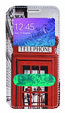 Samsung Galaxy Alpha Gizli Mıknatıslı Çift Pencereli Telefon Kulübesi Deri Kılıf