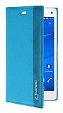 Sony Xperia Z3 Compact Gizli Mıknatıslı Yan Kapaklı Mavi Deri Kılıf