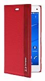 Eiroo Sony Xperia Z3 Compact Gizli M�knat�sl� Yan Kapakl� K�rm�z� Deri K�l�f