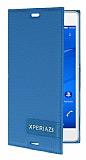 Sony Xperia Z3 Gizli Mıknatıslı Yan Kapaklı Mavi Deri Kılıf