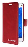 Eiroo Sony Xperia Z3 Compact Standlı Cüzdanlı Kırmızı Deri Kılıf