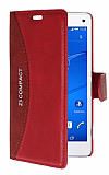 Eiroo Thunder Sony Xperia Z3 Compact Standlı Cüzdanlı Kırmızı Deri Kılıf