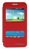 Eiroo Samsung Galaxy Core 2 Vantuzlu Pencereli Kırmızı Deri Kılıf
