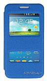 Eiroo Samsung Galaxy Core 2 Vantuzlu Pencereli Mavi Deri Kılıf