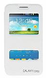 Eiroo Samsung Galaxy Core 2 Vantuzlu Pencereli Beyaz Deri Kılıf
