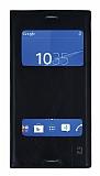 Sony Xperia Z3 Gizli Mıknatıslı Pencereli Siyah Deri Kılıf