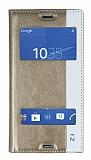 Eiroo Sony Xperia Z3 Gizli Mıknatıslı Pencereli Gold Deri Kılıf