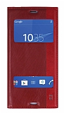 Sony Xperia Z3 Gizli Mıknatıslı Pencereli Kırmızı Deri Kılıf