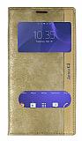 Eiroo Sony Xperia C3 Gizli Mıknatıslı Pencereli Gold Deri Kılıf