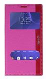 Eiroo Sony Xperia C3 Gizli Mıknatıslı Pencereli Pembe Deri Kılıf