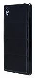 Eiroo Sony Xperia Z3 Metal Kenarlı Bubble Siyah Deri Kılıf