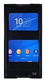 Sony Xperia Z3 Plus Gizli Mıknatıslı Çift Pencereli Siyah Deri Kılıf