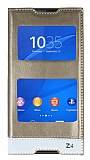 Sony Xperia Z3 Plus Gizli Mıknatıslı Çift Pencereli Gold Deri Kılıf