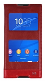 Sony Xperia Z3 Plus Gizli Mıknatıslı Çift Pencereli Kırmızı Deri Kılıf