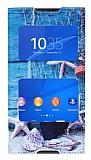 Sony Xperia Z3 Plus Gizli Mıknatıslı Pencereli Deniz Yıldızı Deri Kılıf