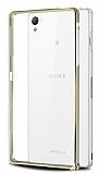 Eiroo Sony Xperia Z3 Plus Gold Çizgili Gold Bumper Kılıf