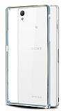 Eiroo Sony Xperia Z3 Plus Gold Çizgili Silver Bumper Kılıf