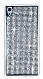 Eiroo Sony Xperia Z3 Plus Taşlı Silver Silikon Kılıf