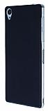 Sony Xperia Z3 Ultra İnce Deri Siyah Silikon Kılıf