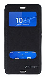 Eiroo Sony Xperia Z3 Compact Vantuzlu Pencereli Siyah Deri Kılıf
