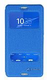 Eiroo Sony Xperia Z3 Compact Vantuzlu Pencereli Mavi Deri Kılıf