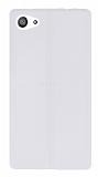 Eiroo Seams Sony Xperia Z5 Compact Deri Desenli Ultra İnce Şeffaf Beyaz Silikon Kılıf