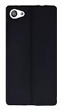 Eiroo Seams Sony Xperia Z5 Compact Deri Desenli Ultra İnce Siyah Silikon Kılıf