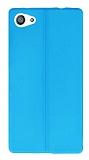 Sony Xperia Z5 Compact Deri Desenli Ultra İnce Mavi Silikon Kılıf