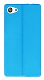 Eiroo Seams Sony Xperia Z5 Compact Deri Desenli Ultra �nce Mavi Silikon K�l�f