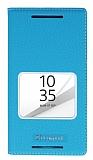 Sony Xperia Z5 Compact Gizli Mıknatıslı Çerçeveli Mavi Deri Kılıf