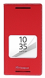 Sony Xperia Z5 Compact Gizli Mıknatıslı Çerçeveli Kırmızı Deri Kılıf